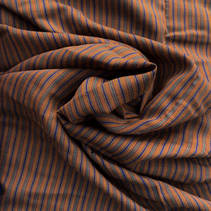 Pumpkin background with teal and navy mini stripes, wool blend, Vintage deadstock from Our Social Fabric.