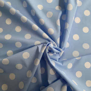 Light Blue & White Big Polka Dots 100% cotton. Not stretch and not see-through.