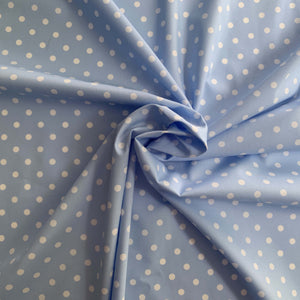 Light Blue & White Small Polka Dots 100% cotton. Not stretch and not see-through.