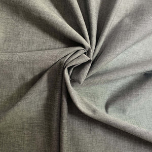 Grey Chambray 100 % cotton.  Not stretch and not see-through.