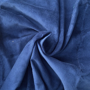 Royal Blue Milleraies Velvet, cotton 100%. Deadstock quality from Our Social Fabric