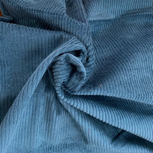 Prussian Blue light weight Corduroy Velvet, cotton 100%, for a 70s inspired vibe and an absolute retro appeal.