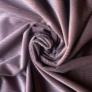 Lilac light weight Corduroy Velvet, cotton 100%, for a 70s inspired vibe and an absolute retro appeal.
