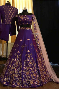 Purple Embroidered Attractive Party Wear Lehenga<br>
