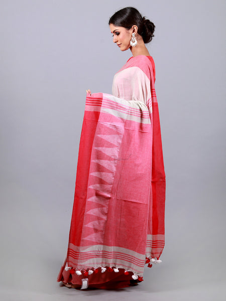 Azure White With Red Temple Border Par Anchal Khadi Cotton Saree