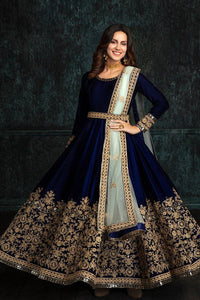 Blue Colored Embroidered Work Velvet Lehenga Choli With Dupptta Net
