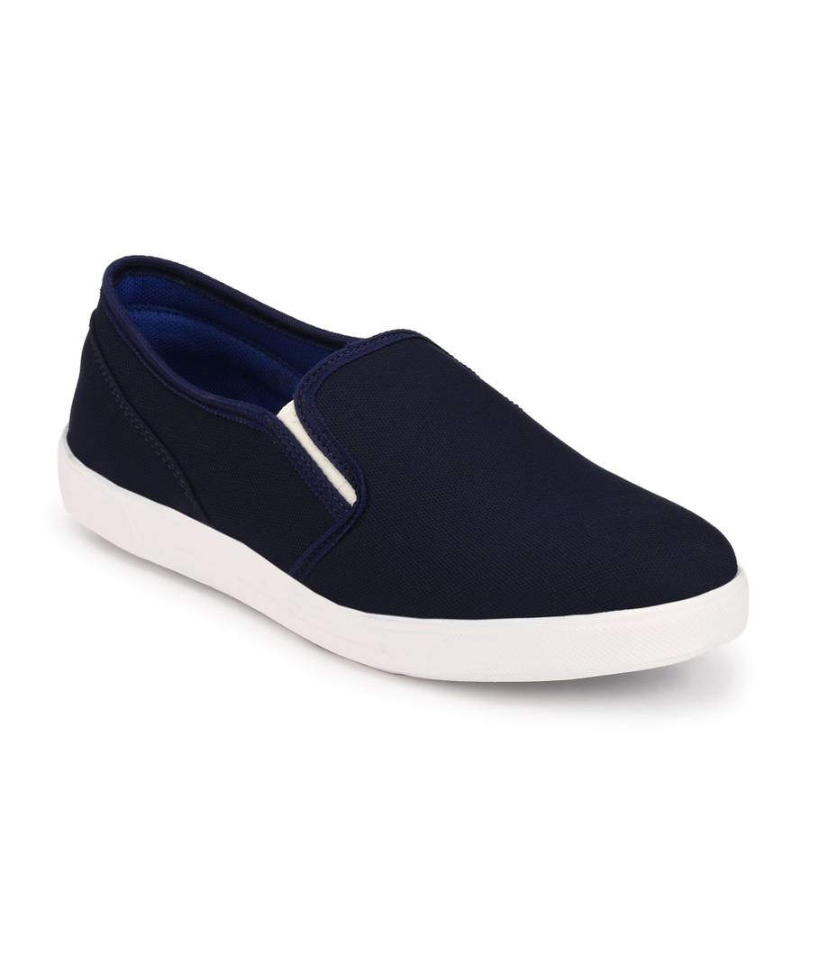 Men Blue Slip-On Canvas Casual Shoes