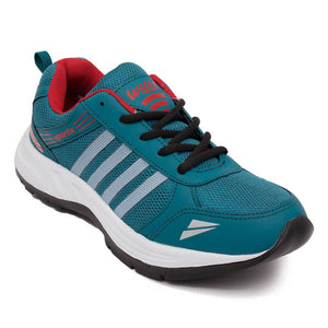 Men's Green Self Design Mesh Sports Shoes