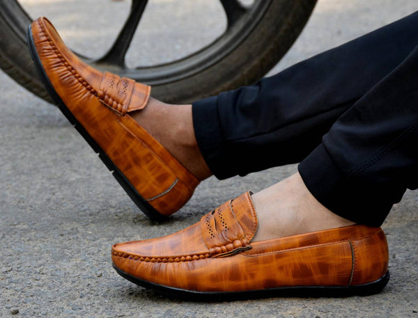 Tan Colour Synthetic Stylish And Trendy Loafers