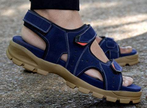 Blue Synthetic Self Design Comfort Sandals for Men's