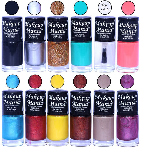 HD Colors Nail Polish Set Of 12 Pieces, Perfect Gift For Girls (Black, Silver, Golden, Turquoise, Top Coat, Pink, Blue Shimmer, Yellow, Copper, Nude)