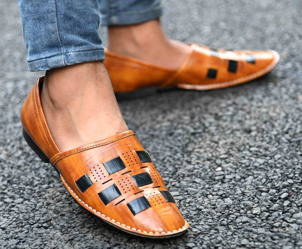 Elegant & Stylish Tan Perforated Slip On Woven Design Comfy Casual Shoes