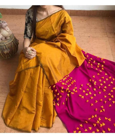 Attractive Cotton Silk Pom Pom Saree with Blouse piece
