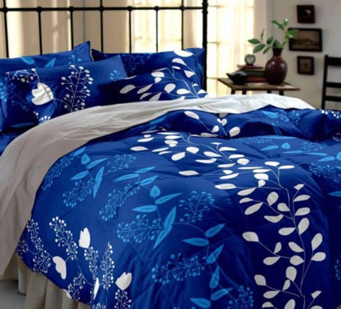Beautiful Navy Blue Printed Polycotton Double Size 1 Bedsheet with 2 Pillow Covers