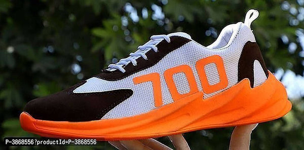 Men's Orange Mesh Self Design Sports Shoes