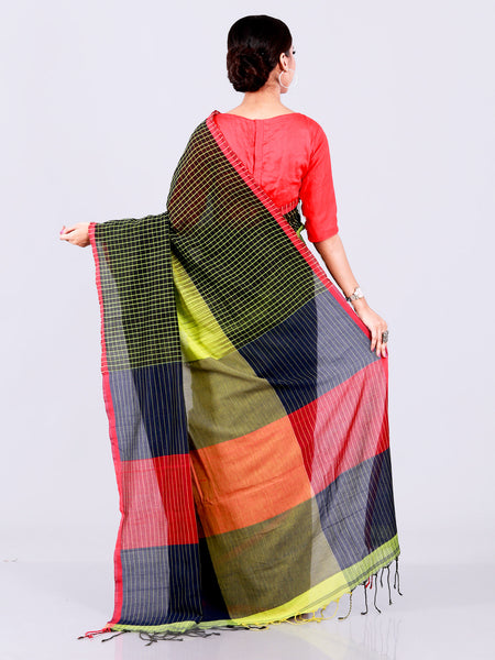 Multi Colored Woven Checks Border Ikkat Shaded Khadi Cotton Saree