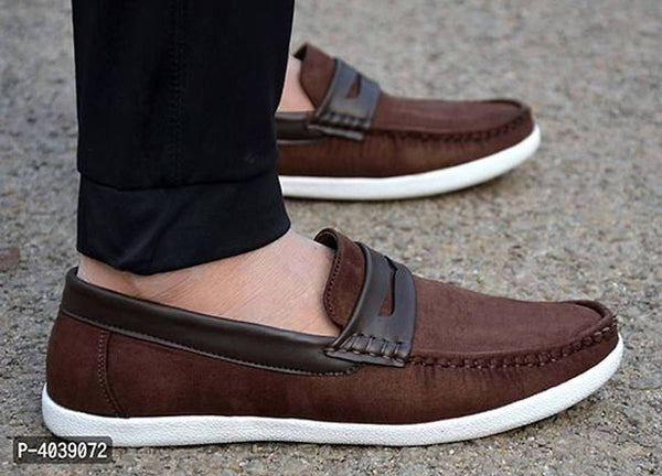 Men's Brown Solid Suede Loafers