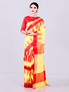 Elegant Yellow With Red Body Anchal Khadi Cotton Ikkat Saree