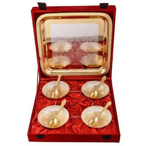 4 Bowl Set With Tray (Material-Brass With Velvet Box)