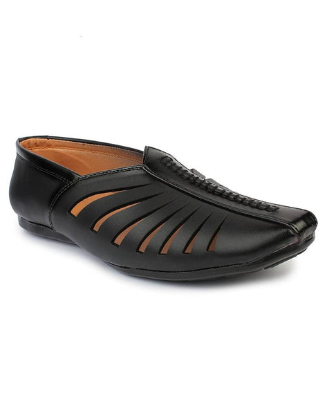 Men's Stylish and Trendy Black Solid Synthetic Casual Mojaris