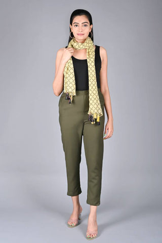 Women's\Girls Regular Fit Casual Cotton Spun Solid Trouser Pant (Dark Olive Green)