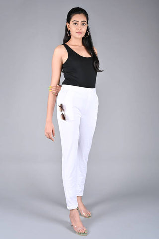 Women's\Girls Regular Fit Casual Synthetic Lycra Solid Trouser Pant (White)