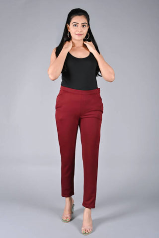 Women's\Girls Regular Fit Casual Synthetic Lycra Solid Trouser Pant (Maroon)