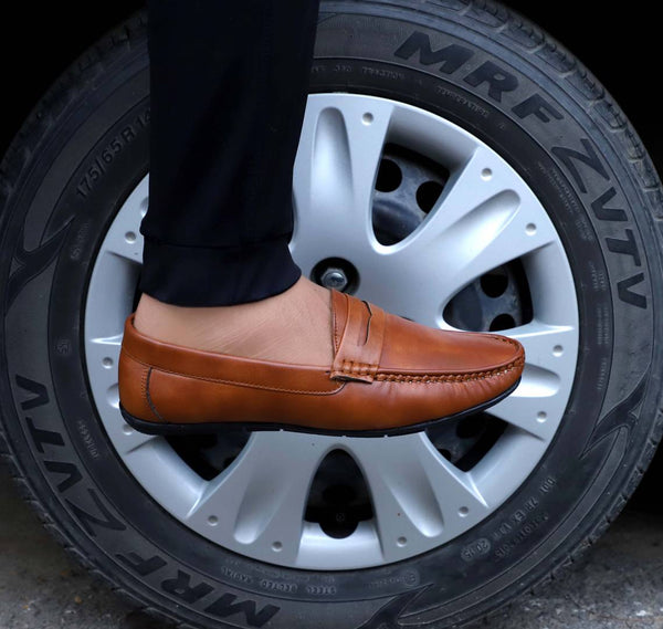 Trendy Tan Synthetic Leather Slip-On Loafer Shoes For Men