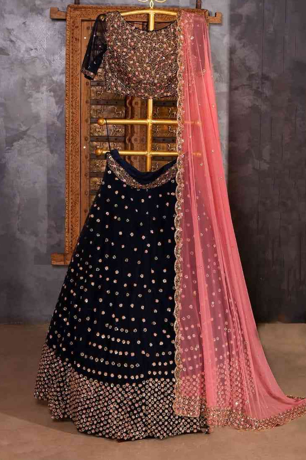 Black Embroidered Attractive Party Wear Lehenga