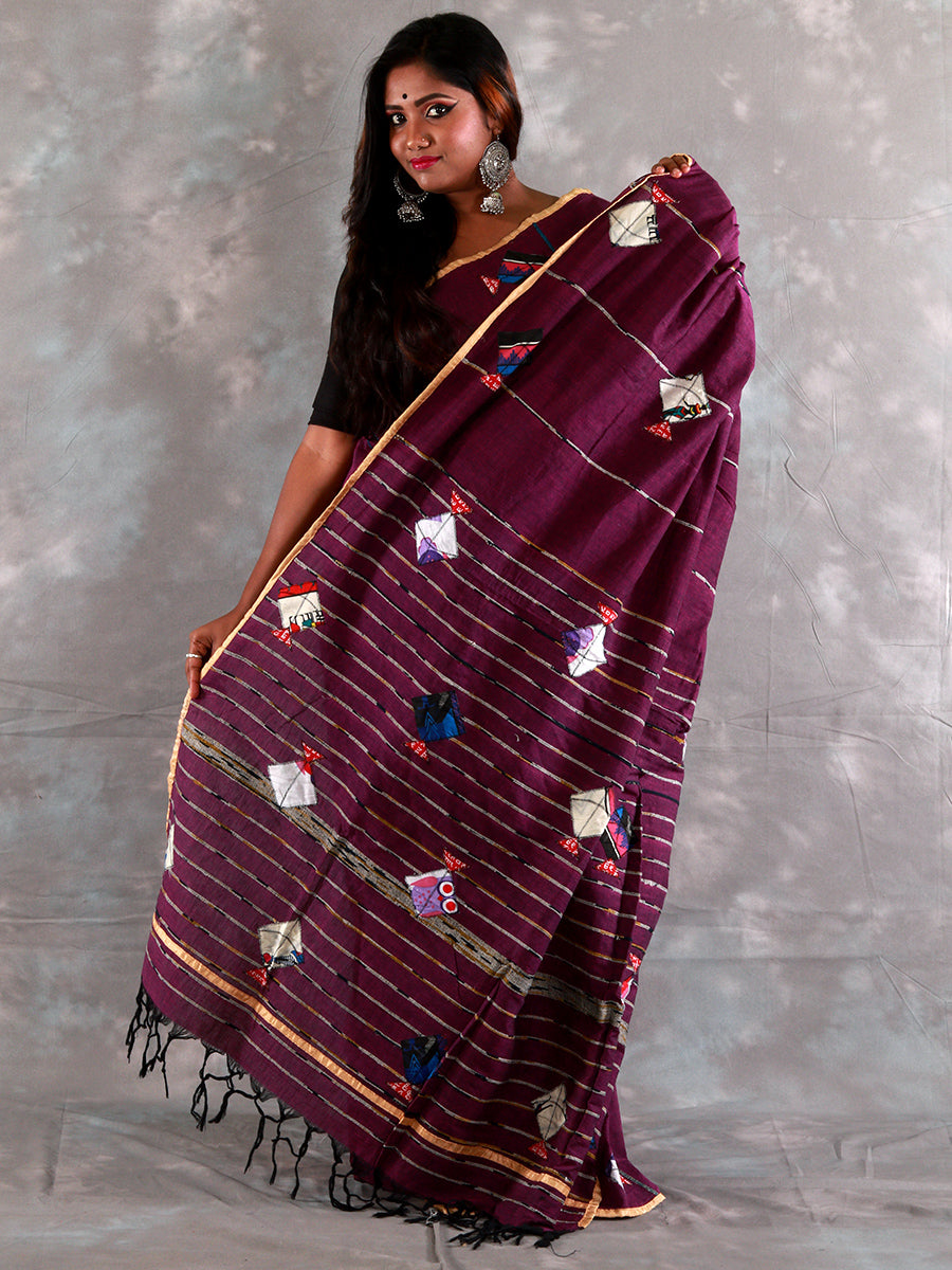 Purple Khesh Baul Aplik Saree