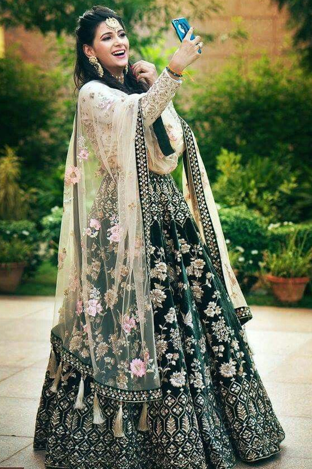 Green Colored Embroidered Attractive Party Wear Designer Lehenga Choli