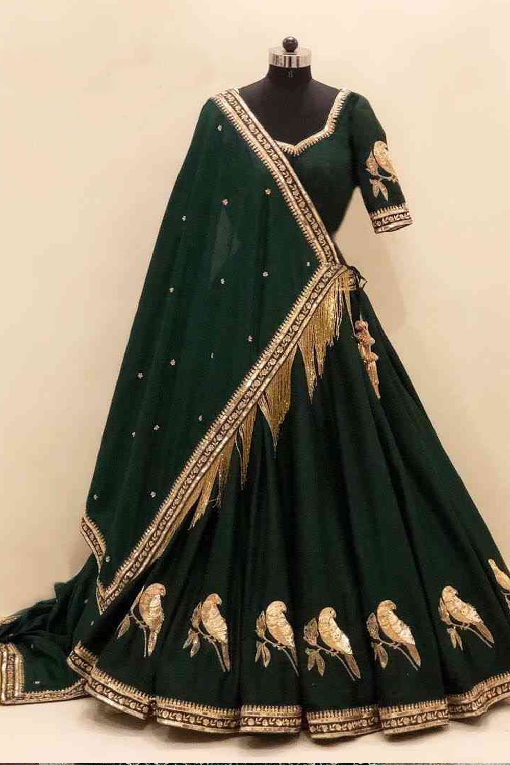 Green Embroidered Attractive Party Wear Lehenga