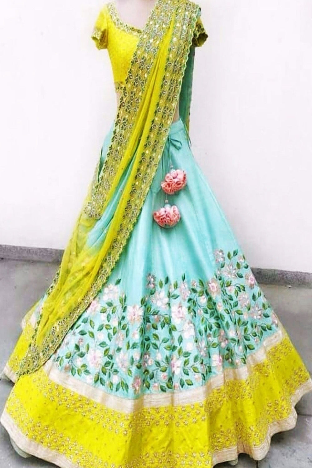 Blue & Yellow Colored Lehengha Choli With Embrodariy Work