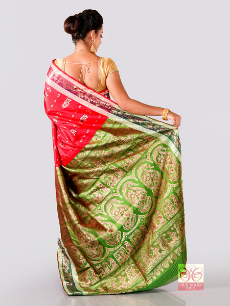 Red With Contrast Par Anchal Swarnachari Silk Saree