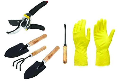 Your Brand Gardening Combos Tool kit - Hand Cultivator, Small Trowel, Garden Fork, Hand Weeder Straight and Garden Shears Sharp Cutter Pruners Scissor with Gardening Reusable Gloves