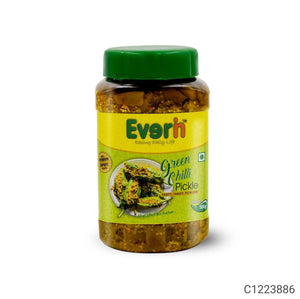 Everin Tasty Tangy and Ticklish Green Chilli Pickle (500 gm) each Pack of 2
