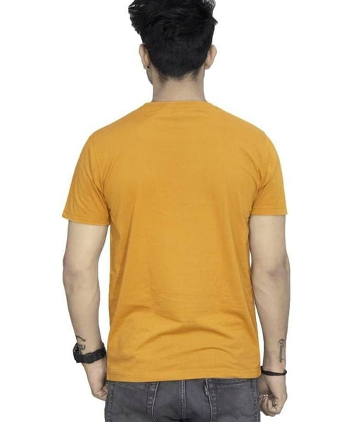 Yellow Cotton Printed Round Neck T-Shirt