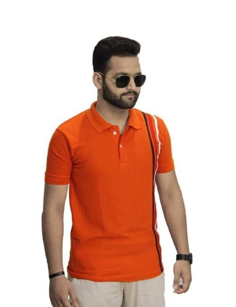 Stylish Orange Solid Cotton Polo T-Shirt For Men