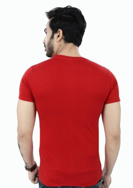 Red Printed Cotton Round Neck T-Shirt