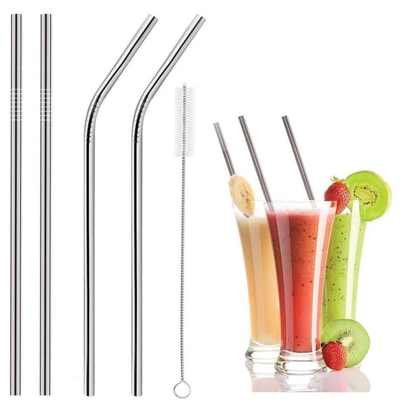579 Set of 4 Stainless Steel Straws & Brush (2 Straight straws, 2 Bent straws, 1 Brush)