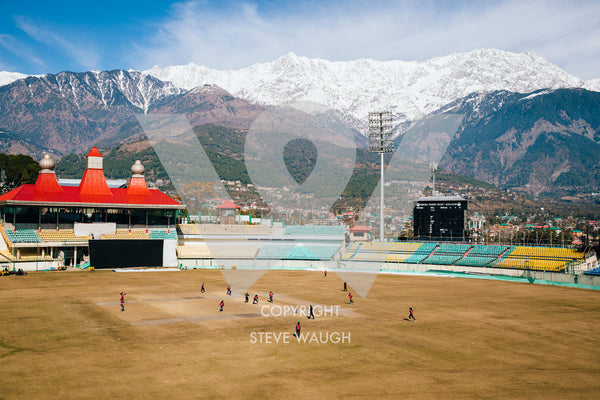 Aerial photograph of Himachal Pradesh Cricket Assoc. Stadium