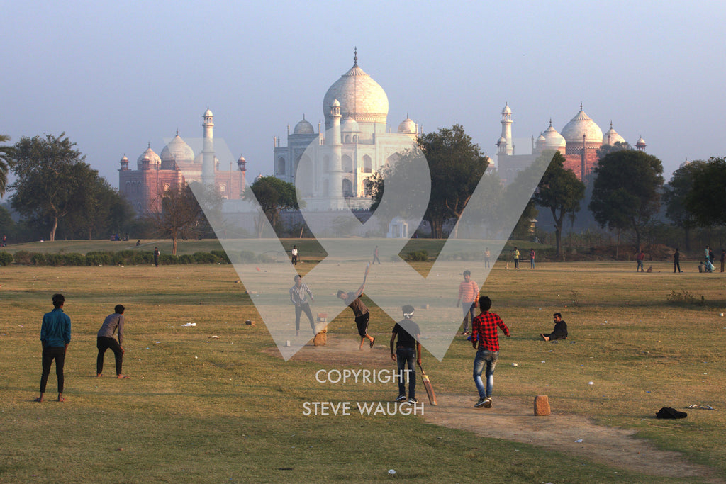 Game of cricket being played on the grass with the Taj Mahal in the background