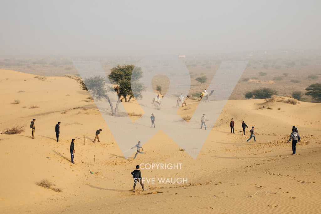 Game of cricket being played in Osian, Thar Desert, Rajasthan