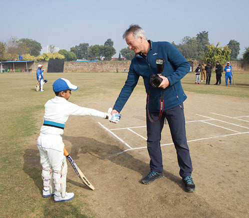 Steve Waugh shaking local Childs hand after a local game of cricket