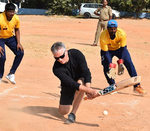 Steve Waugh batting in local game of Cricket