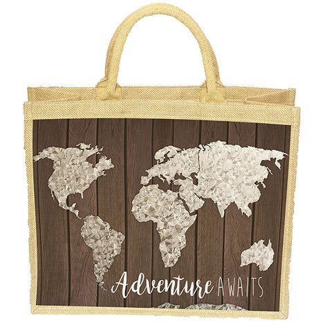 Map on Wood Bag