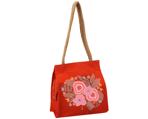 Flowers on Red Bag