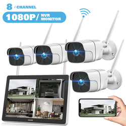 Toguard W400 1080P Wireless Security Camera System with 12 inch LCD Monitor, 8CH NVR 4Pcs WiFi Outdoor Home Surveillance Camera