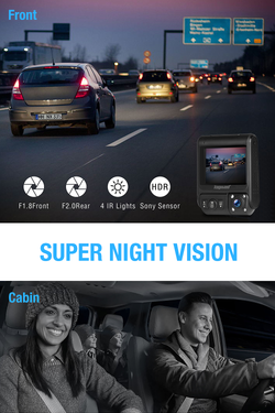 Toguard CE46G Uber Dual Dash Camerar Built-in GPS Infrared Night Vision  for  Car Taxi