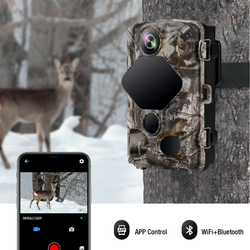 Toguard H75 4K Lite Trail Camera 24MP Game Camera WiFi Bluetooth Hunting Camera with 46 PCS 850nm Infrared LEDs